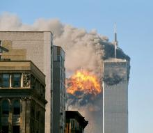 English: United Airlines Flight 175 crashes into the south tower of the World Trade Center complex in New York City during the September 11 attacks