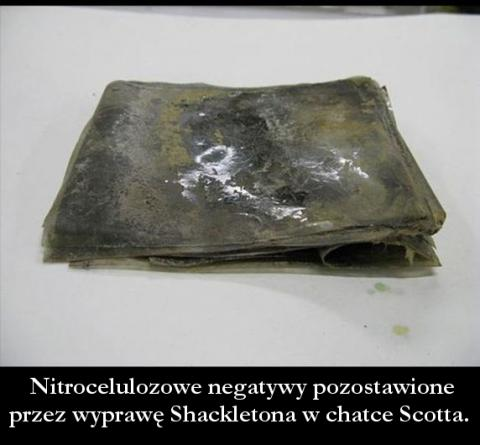 Nitrocellulose negatives left by Shackleton's expedition in Scott's hut